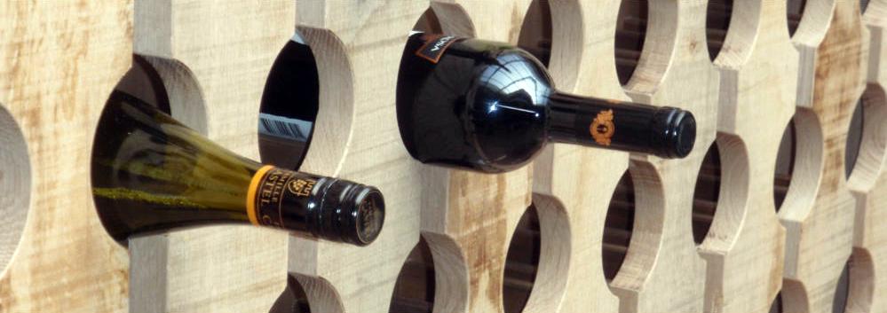 wijnrek, ongeschaafd eiken