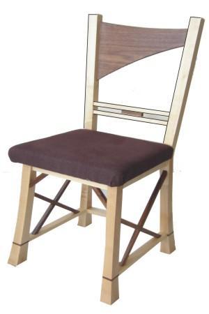 stoel, walnoot en esdoorn